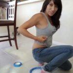 Squating in jeans poop Fart Girl [FullHD]